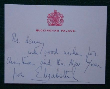 Antique Hand Signed Christmas Card from Queen Elizabeth II to her Hairdresser